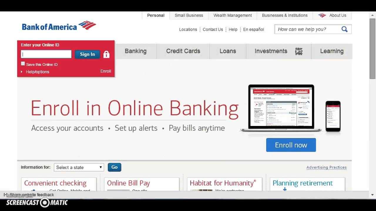 bank of america online banking not working