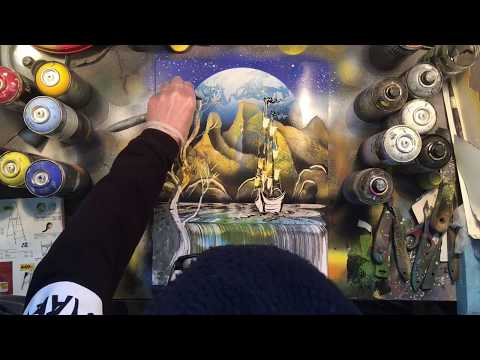 Montagne rocciose all'alba  – SPRAY PAINT ART by Sposito for beginner