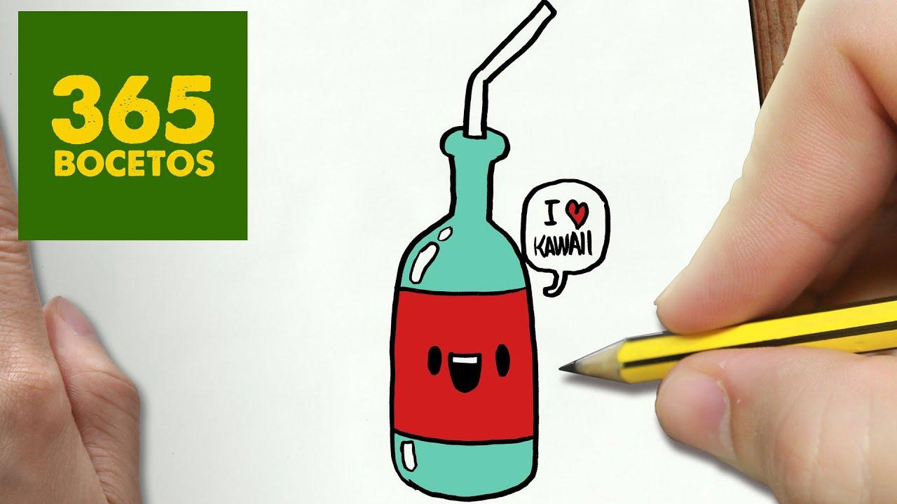 Botella De Cerveza Dibujo: COMO DIBUJAR BOTELLA KAWAII PASO A PASO