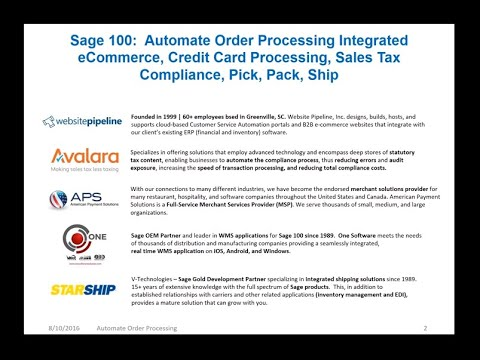 Sage 100 Automate Order Processing Integrated eCommerce, Credit Card Processing