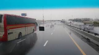 Heavy Thunder Rain on Sheikh Zayed Road in Dubai 25.03.2017