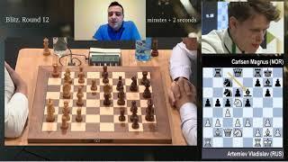 Artemiev vs Carlsen (Ronda 12 Mundial de Blitz)