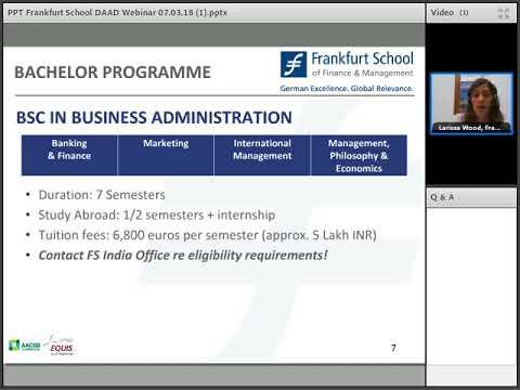 Webinar Series 2018- Study in Germany (Frankfurt School of Finance and Management)
