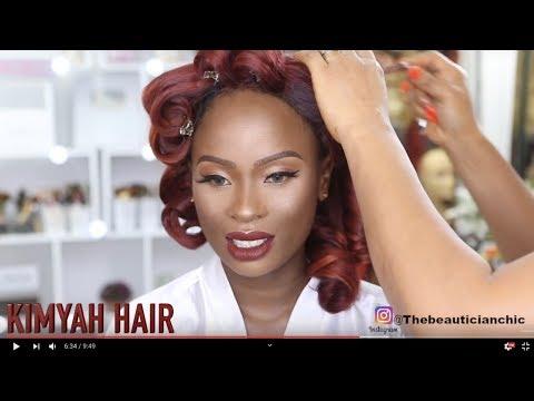 BRIDAL HAIR AND MAKEUP TRANSFORMATION  13|RED PIN UP BRIDAL  HAIR |KIMYAH HAIR thumbnail