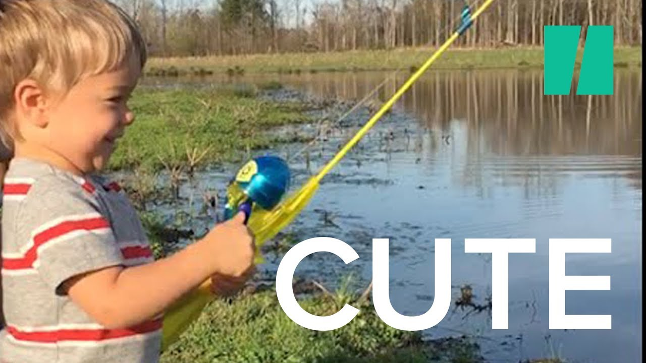 Little Boy Catches Fish With Toy Rod Youtube