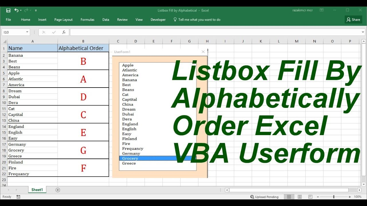 Listbox fill by alphabetical order userform excel vba youtube listbox fill by alphabetical order userform excel vba ibookread Download
