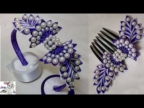 How to make Pearl Beaded Satin Ribbon Floral Hair Band   Comb   Hair Accessories   Diy   Jewellery