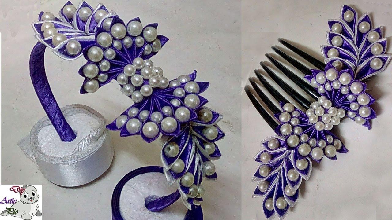 How to make Pearl Beaded Satin Ribbon Hair Band  0c1ec561f93