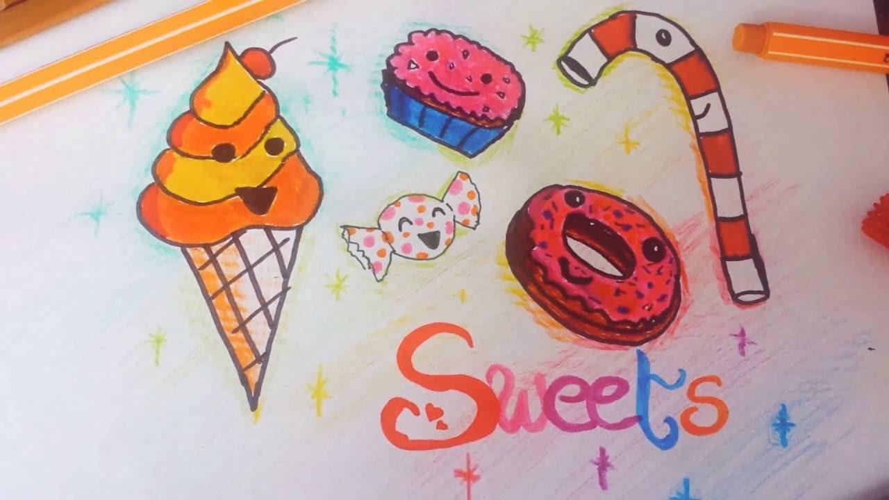 Drawing Sweets🍦🍩🍬 zeichne Süßigkeiten | natascha spielberg - YouTube