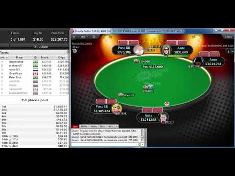 """rsehnem77"" beat 1990 players, win the pokerstars Bounty Builder $16.50 $20K for $3,721 Oct 25, 2019"