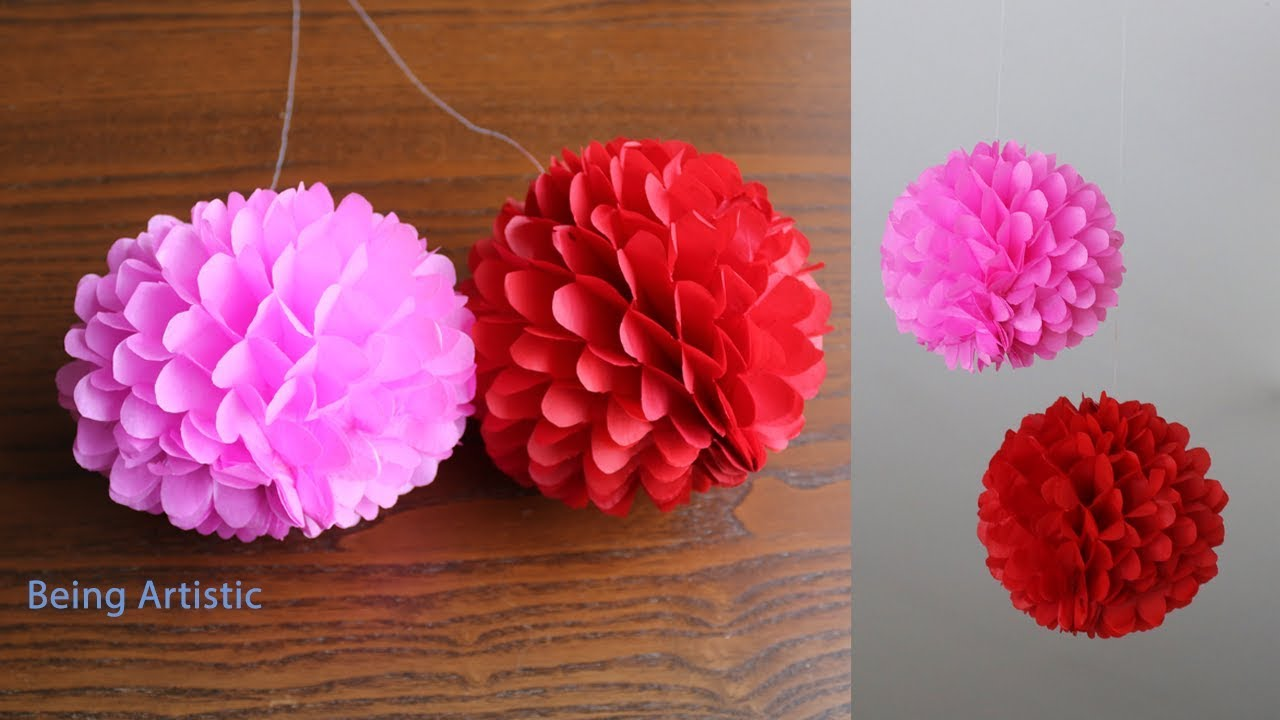Diy Hanging Paper Ball Paper Craft Handmade Youtube
