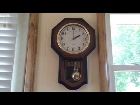 Vintage Heirloom Regulator Chiming Wall Clock Youtube