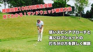 【ゴルフ】見てわかる❗️SW(サンド)での低いスピンアプローチ、高いロブショットの打ち分け方と詳しい解説