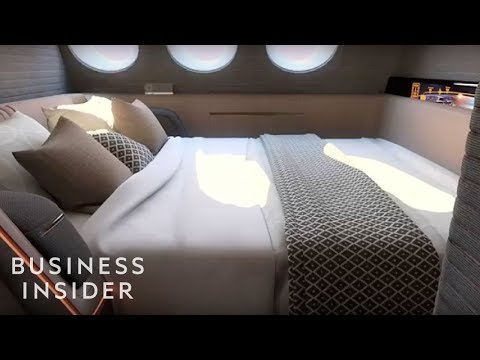 First-class plane cabin has a king-size bed and a 42-inch TV