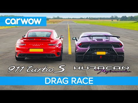 Lamborghini Huracan Performante v Porsche 911 Turbo S – DRAG RACE, ROLLING RACE & BRAKE TEST
