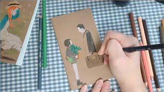 [색연필 감성 일러스트]프리즈마색연필/노트표지꾸미기/레…