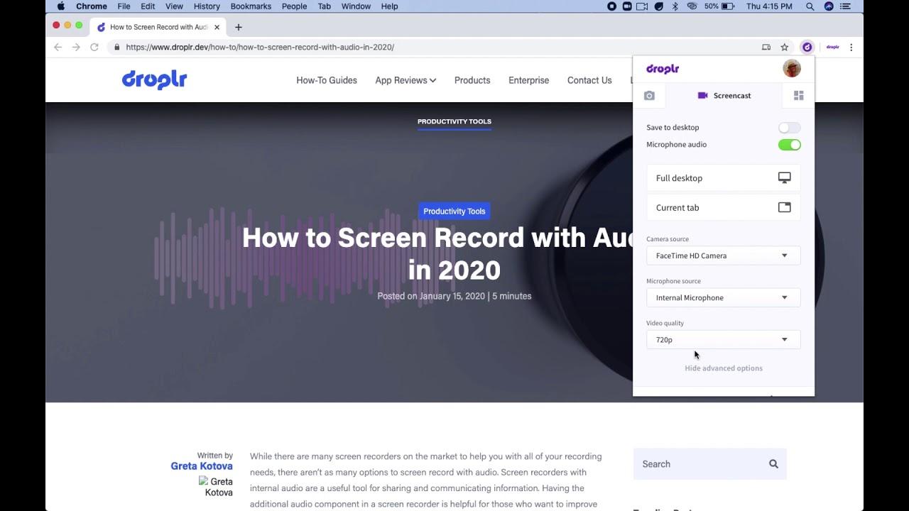 Droplr Screen Recorder: Quality Options