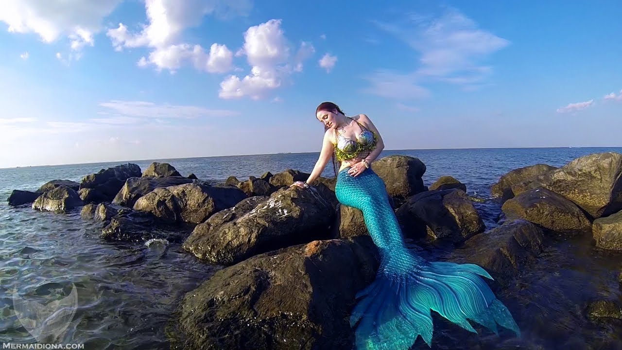 Mermaid on Ocean Rocks - YouTube