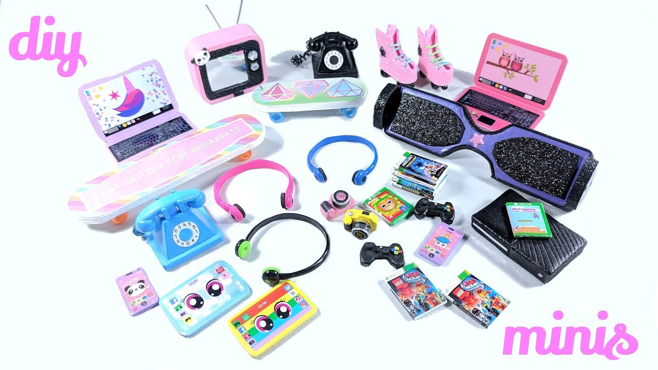 DIY Dollhouse Miniatures - Roller Skates, Hoverboard, Retro TV, Xbox, and more