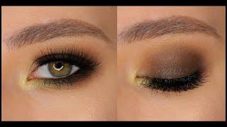 Коричневый смоки с цветным акцентом для зелёных глаз Макияж с пигментами Дымчатый макияж