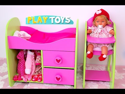 Thumbnail: Baby Doll Nursery toy set - Stroller toy pram for dolls, High Chair, Bed doll furniture