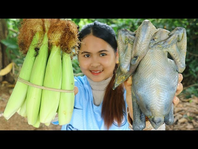Awesome Cooking Black Chicken With Baby Corn Dilecious Cook Recipe - Yummy Eating Show No Talking