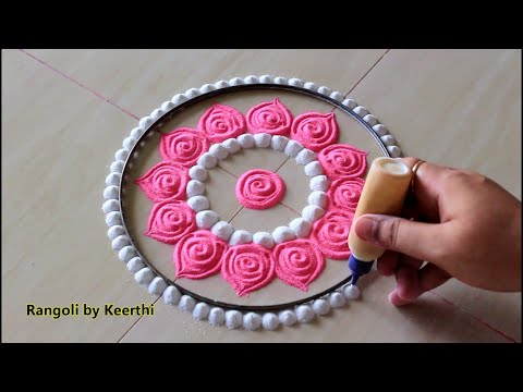 Simple Pink & White Rangoli For Karthikai Deepam L Easy Rangoli Designs Kolam Muggulu L रंगोली रचना