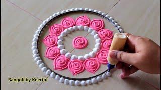Simple pink & white rangoli for karthikai Deepam l Easy Rangoli designs kolam muggulu l रंगोली रचना