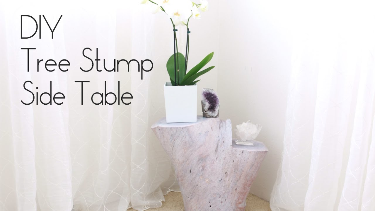 DIY Tree Stump Side Table YouTube - White stump side table