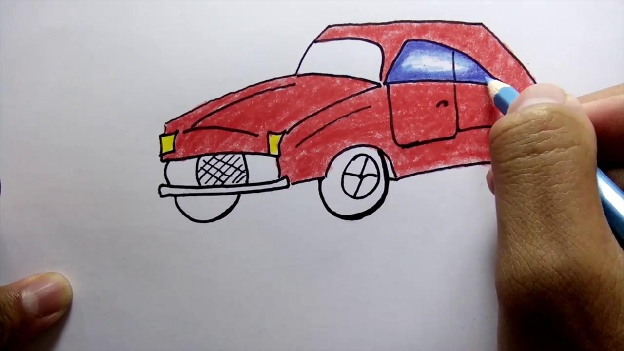 Menggambar Dan Mewarnai Mobil Balap Mudah Untuk Anak Anak Youtube