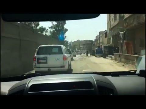 Raw: UN Trucks Reach Eastern Ghouta, Syria