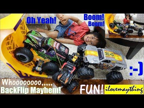 Children's TOY TRUCKS: Monster Trucks Backflip Stunts! Monster Truck CRASH! Monster Jam RC Playtime