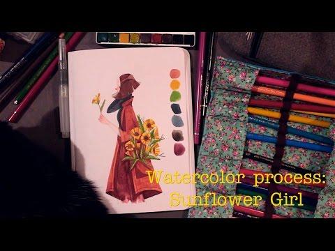 Watercolor Process - Sunflower Girl   Fefê Torquato