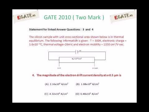 Problem on Drift current density - GATE 2010 Solved paper (Electron Devices) - (www.egate.ws)
