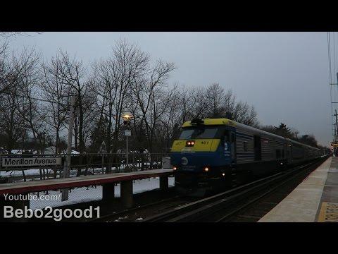 Long Island Railroad Diesel & EMU Trains at Merillon Ave, NY RR