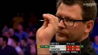 *team unicorn magical moments* james wade pins a magnificent 9-dart finish during the 2014 world grand prix in dublin
