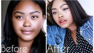 Black Girl Tries Korean Makeup Trends| Easy Daily Makeup | KennieJD