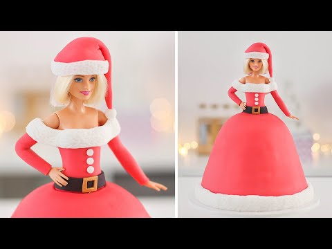 Christmas Barbie 🤶🏻Easy Ms Claus Doll Cake 🎄Tan Dulce