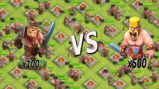 x100 Barbarian King vs x500 barbarians --must watch!!!!--coc private server--clash of clans