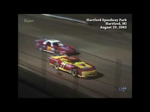 Full race from the Super Stock division at Hartford Speedway Park in MI August 29, 2003. - dirt track racing video image