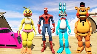 toy animatronics spiderman stunt on world s biggest ramps ever gta 5 mods fnaf funny moments