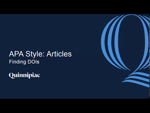 APA Style: Articles - Finding DOIs