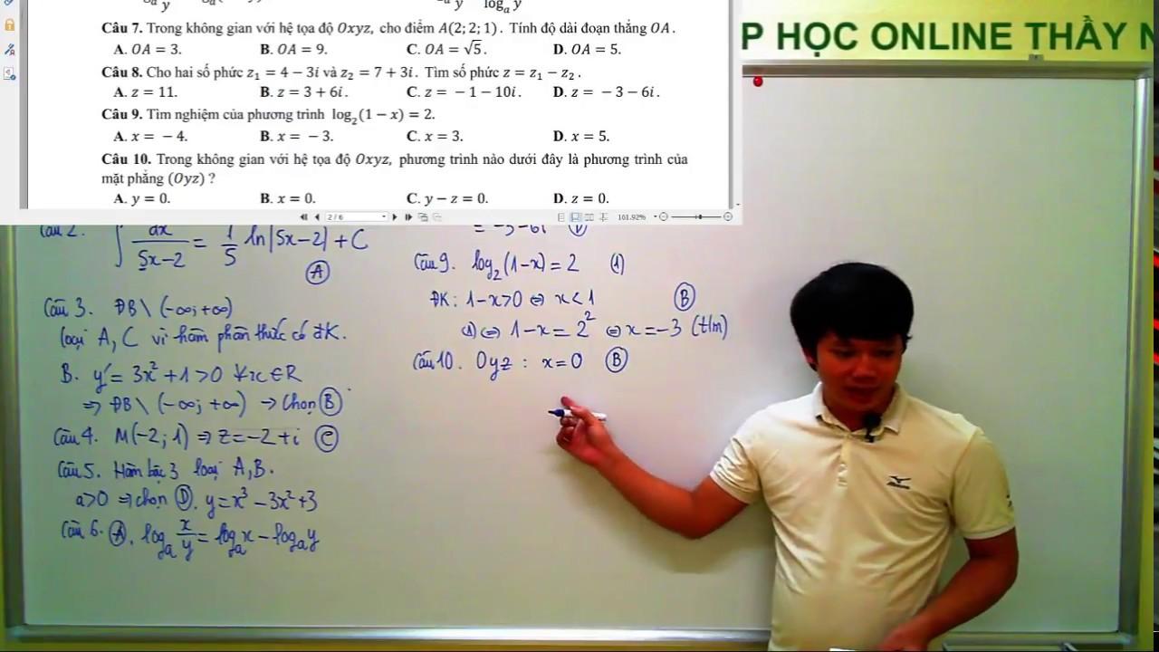 [Toán 12] Đề thi trung học phổ thông quốc gia 2017 – Mã đề 102 – 35 câu đầu