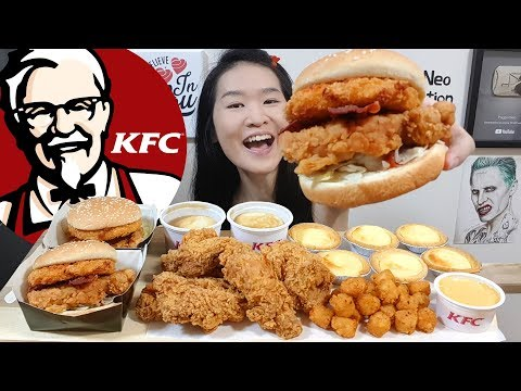 KFC Mozzarella Zinger Burger!! Hot & Spicy Fried Chicken, Creamy Cheese Tarts | Eating Show Mukbang