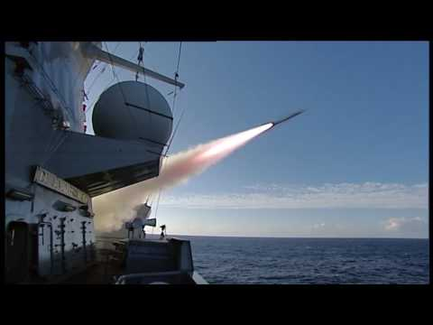 HNLMS De Zeven Provinciën (F802) launches two Harpoon missiles, an ESSM and a SM-2