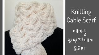 Knitting Cable Scarf /대바늘 양면꽈배…