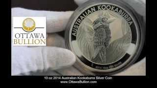 10 oz 2014 Australian Kookaburra Silver Coin. Ottawa Coin Dealer