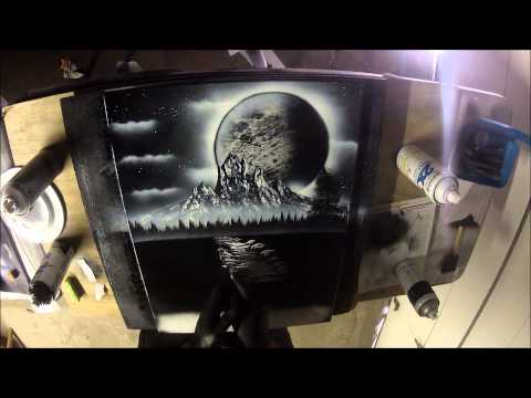 Black and White spray paint art on canvas