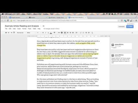 Reading and annotating an article [Screencast]