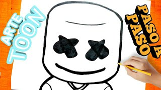 Como dibujar a marshmello paso a paso | how to draw marshmallow